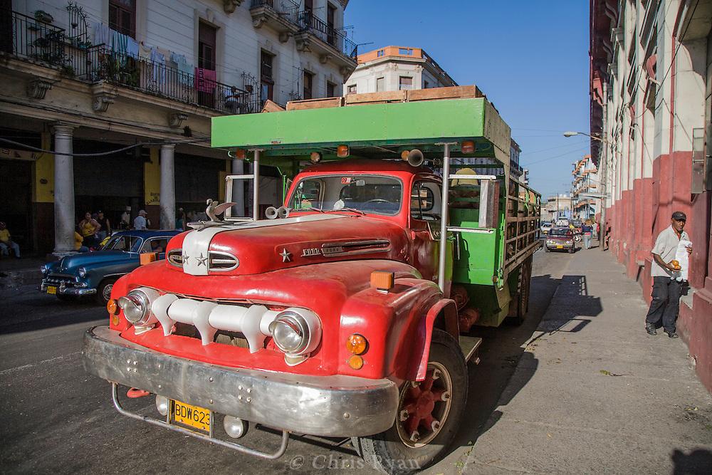 Freight truck waiting outside Mercado Agropecuario Cuatros Caminos, Havana, Cuba