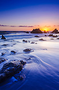 Sea stacks at sunset, El Matador State Beach, Malibu, California USA