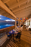 Eating dinner outside a lovely evening at the Beachcomber Inn, near Petersburg, Southeast Alaska USA