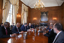April 17, 2018 - London, London, United Kingdom - Image licensed to i-Images Picture Agency. 17/04/2018. London, United Kingdom.  Britain's Prime Minister Theresa May hosts a meeting with leaders and representatives of Caribbean countries, at 10 Downing Street in London,  on the sidelines of the Commonwealth Heads of Government meeting (CHOGM) (Credit Image: © Rota/i-Images via ZUMA Press)