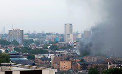 Anna Branthwaite, Camden, London<br /> 19/05/2014<br /> View of massive fire in Camden Town, with the Roundhouse in the foreground. <br /> Photo: Anna Branthwaite/LNP