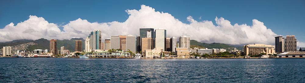 Panoramic view of Downtown Honolulu, Oahu, Hawaii, USA