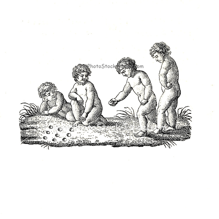 19th century illustration of Naked Cherubs playing from Le Nu au Salon 1894 Catalogue published in Paris in 1894 by Société nationale des beaux-arts (France). et Société des artistes français. Catalogs of nudes exhibited at the official Paris Salons. On white background