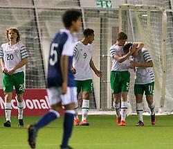 Repulic of Ireland's Callum Thompson celebrates after scoring their third goal. Scotland 0 v 3 Repulic of Ireland, Under 16 Victory Shield played at Oriam, Edinburgh.