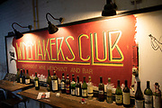 Empty wine bottles at the Winemakers Club, a new independent wine bar and wine merchants in London, United Kingdom.