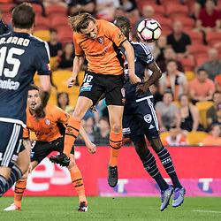 BRISBANE, AUSTRALIA - OCTOBER 7: Brett Holman of the Roar heads the ball during the round 1 Hyundai A-League match between the Brisbane Roar and Melbourne Victory at Suncorp Stadium on October 7, 2016 in Brisbane, Australia. (Photo by Patrick Kearney/Brisbane Roar)