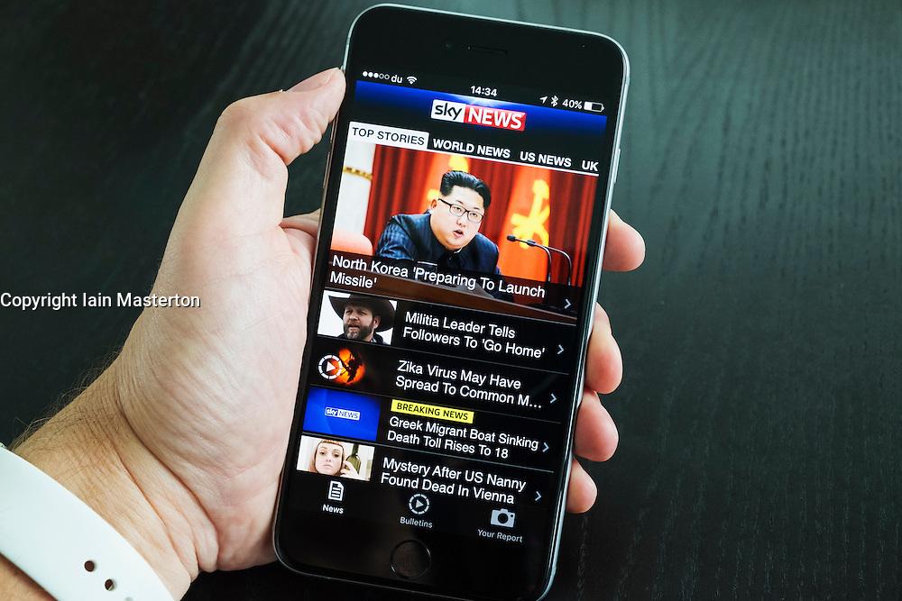 SKY news online news app on iPhone 6 plus smart phone