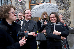 © London News Pictures. 20/11/2012. London, UK . Women members of the Church of England clergy outside Church House in Westminster, London for day two of the three-day Church of England General Synod. Members will vote on whether to allow women to become bishops, 20 years after the Church decided to ordain women as priests. Photo credit: Ben Cawthra/LNP