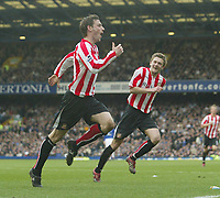Photo: Aidan Ellis.<br /> Everton v Sunderland. The Barclays Premiership. 01/04/2006.<br /> Sunderland's Rory Delap celebrates his equalising goal with george Mcartney