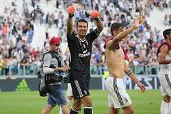 August 19, 2017 - Turin, Piedmont, Italy - Gianluigi Buffon (Juventus FC) celebrates the victory after the Serie A football match between Juventus FC and Cagliari Calcio at Allianz Stadium on august 19, 2017 in Turin, Italy. (Credit Image: © Massimiliano Ferraro/NurPhoto via ZUMA Press)