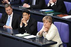 26.05.2011, Bundestag, Berlin, GER, Bundesfinanzminister Wolfgang Schäuble gibt am Freitag ab 8.30 Uhr eine Regierungserklärung zur Euro-Stabilität ab, an die sich eine Aussprache anschließt. Weitere Debatten: Gebäudesanierungen, Beziehungen zu Polen, Bund-Länder-Bildungskooperation sowie Kreislaufwirtschafts- und Abfallrecht., im Bild Guido Westerwelle (FDP Aussenminster), Philipp Rösler / Roesler (FDP Vorsitzender Gesundheitsminister ) und Angela Merkel ( Bundeskanzlerin CDU )     EXPA Pictures © 2011, PhotoCredit: EXPA/ nph/  Hammes       ****** out of GER / SWE / CRO  / BEL ******