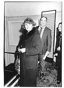 Benjamin Treuhaft and Constancia Romilly at Memorial Celebration for Jessica Mitford, Lyric Theatre, Shaftesbury Avenue 16 Feb 97© Copyright Photograph by Dafydd Jones 66 Stockwell Park Rd. London SW9 0DA Tel 020 7733 0108 www.dafjones.com