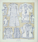 Chinese Cloak material spread from Geschichte des kostüms in chronologischer entwicklung (History of the costume in chronological development) by Racinet, A. (Auguste), 1825-1893. and Rosenberg, Adolf, 1850-1906, Volume 1 printed in Berlin in 1888
