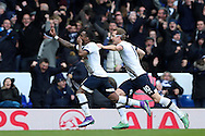 Danny Rose of Tottenham Hotspur (l) celebrates with Harry Kane of Tottenham Hotspur after scoring his sides 2nd goal to make it 2-1.Barclays Premier league match, Tottenham Hotspur v Swansea city at White Hart Lane in London on Sunday 28th February 2016.<br /> pic by John Patrick Fletcher, Andrew Orchard sports photography.