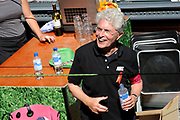Canal Parade 2013 in de Amsterdamse grachten. De Canal Parade is het hoogtepunt van de Gay Pride, een feestweek met voornamelijk homo's, bi's, lesbiennes en transgenders.<br /> <br /> On the photo: <br /> <br />  Jacques d' Ancona (voormalig KNVB scheidsrechter)
