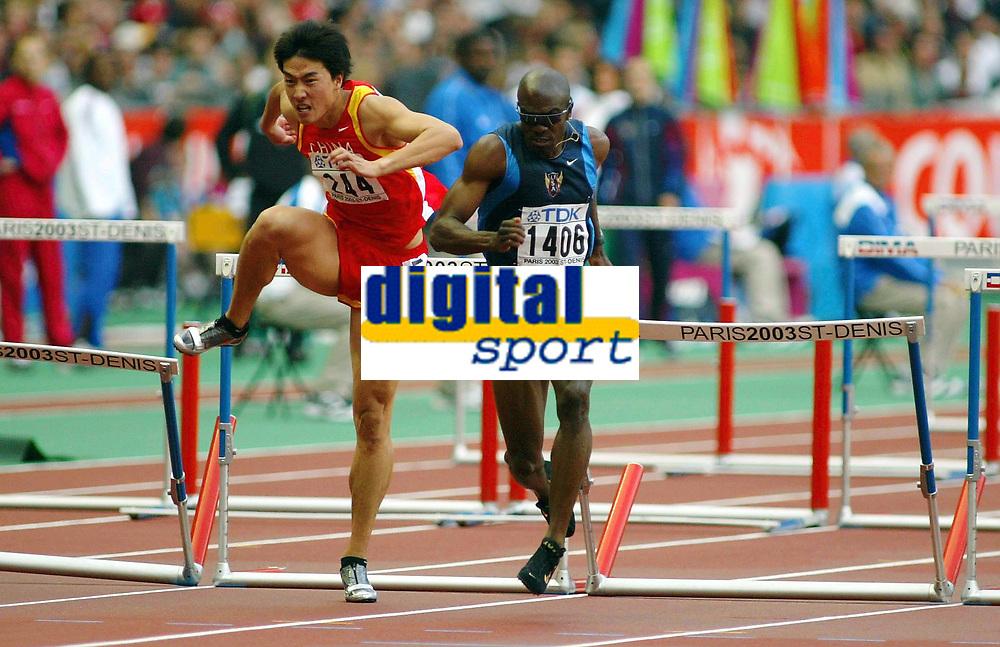Athletics, 30. august 2003, VM Paris, World Championship in Athletics,  Allen Johnsen, USA, and Xiang Liu, China 110 metres hurdles