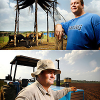 """ABOVE: Outskirts of Chimoio, Manica province, Mozambique, (90 km away from the border with Zimbabwe) <br /> 21 November 2007<br /> Brandon Evans, 35 years old, whose farm was attacked by Mugabe's """"war veterans"""". Mr. Evans was one of the first Zimbabwean farmers settling in Mozambique, where he produces dairy products in a property of 1200 hectares rented by the government. He said to the journalist:  """" Since the year 2000 the situation in Zimbabwe does not allow us to dedicate ourselves to agriculture. It would be a total madness to buy a property there, knowing that there is a strong possibility that it would be taken away from me. For this reason I installed my business in Mozambique """"<br /> <br /> BELOW: Vanduzi, Manica province, Mozambique (next to the border of Zimbabwe) <br /> 21 November 2007<br /> Kevin Gifford, 37 years old, was given 6 hours in a March 2002 day to leave the 2000 ha farm owned by his family since the late 19th century.<br /> He's the last of a group of 37 farmers who settled in this part of Mozambique after Mugabe started his land reform. He explained to the journalist why he refuses to hire any of the thousands of Zimbabweans that cross the border to look for a job in Mozambique:"""" Whoever didn't adopt an attitude to save the country, must pay for that. If somebody only stays to see what happens, scared of saying """"stop, this also is my life"""", then this person must live with that. Because I defended what I believed in, which was not only a personal question, but a national preoccupation, the one about maintaining Zimbabwe as a productive country, I paid the price: that was to see my house looted and to be expulsed from my farm without any compensation. This is the reason why I don't have feelings for a Zimbabwean that has not done anything to stop what occurred, because everybody must fight to defend what is correct. """"<br /> Photo: Ezequiel Scagnetti"""