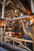 The interior of the historic Old Faithful Inn, Yellowstone National Park, Wyoming.