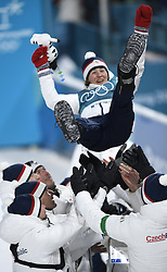 February 10, 2018 - Pyeongchang, South Korea - VERONICA VITKOVA of Czech Republic is tossed in the air after taking third place in the Womens Biathlon 7.5km sprint event Saturday, February 10, 2018 at Alpensia Biathlon Centre at the Pyeongchang Winter Olympic Games.  Photo by Mark Reis, ZUMA Press/The Gazette (Credit Image: © Mark Reis via ZUMA Wire)