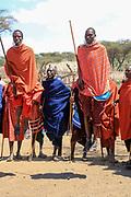 Maasai warriors dancing in village near Ngorongoro Crater, Tanzania