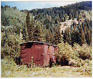 View of old RGS or D&RGW boxcar in Dolores area.<br /> RGS  Dolores, CO