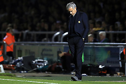 21 September 2016 - EFL Cup - 3rd Round - Northampton Town v Manchester United - Jose Mourinho Manager of Manchester United  stares at his shoes - Photo: Marc Atkins / Offside.