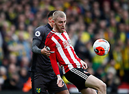 Oli McBurnie of Sheffield Utd holds up the ball  during the Premier League match at Bramall Lane, Sheffield. Picture date: 7th March 2020. Picture credit should read: Simon Bellis/Sportimage