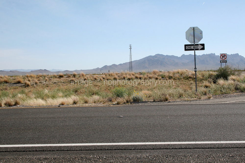 One way sign on a highway in Arizona
