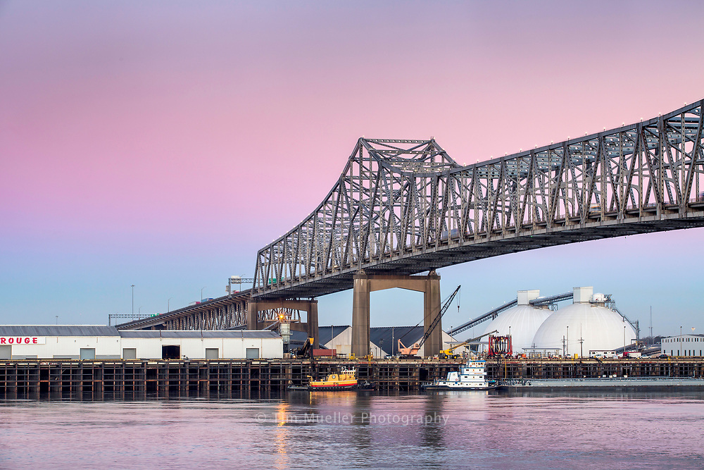 The Horace Wilkerson or I-10 interstate bridge spans the Mississippi River between Baton Rouge and Port Allen, La. Under the bridge is the Port of Greater Baton Rouge.
