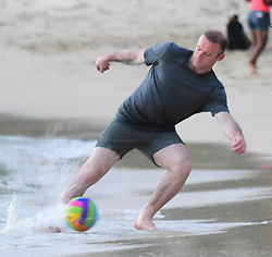 EXCLUSIVE: Wayne Rooney and son Kai plays a game of football while on holiday in Barbados. 26 May 2017 Pictured: Wayne Rooney. Photo credit: 246paps/MEGA TheMegaAgency.com +1 888 505 6342