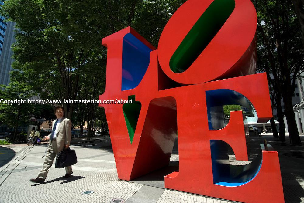 large modern art sculpture LOVE by Robert Indiana in central Shinjuku Tokyo 2007