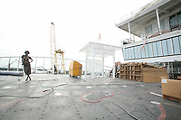 Oasis of the Seas at the shipyard in Turku, Finland where she is being built..Photos show Royal Caribbean's latest  ship 2 months before completion. .Golf Course.