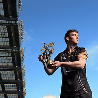 8 November 2013; Clare hurler Tony Kelly with his 2013 GAA GPA All-Star Hurler of the Year award, at the GAA GPA All-Star Awards 2013, Sponsored by Opel. Croke Park, Dublin. Picture credit: Stephen McCarthy / SPORTSFILE *** NO REPRODUCTION FEE ***