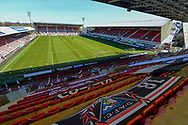 General view inside East End Park, Dunfermline, Scotland before the SPFL Championship match between Dunfermline Athletic and Heart of Midlothian on 3 April 2021.