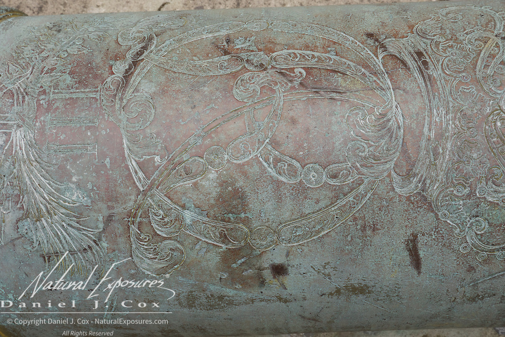 Engraving on the barrel of an ancient canon within the walls of the old Spanish fort, La Cabana, havana, Cuba.