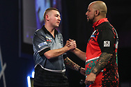 Nathan Aspinall wins his fourth round match against Devon Peterson and celebrates during the World Darts Championships 2018 at Alexandra Palace, London, United Kingdom on 28 December 2018.