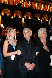 Singer Charles Aznavour flanked by daughter Katia and French singer Line Renaud poses following his concert in Yerevan, Armenia, September 30, 2006. President Jacques Chirac is in Armenia on the second day of a three-day official visit. Photo by Thierry Orban/ABACAPRESS.COM