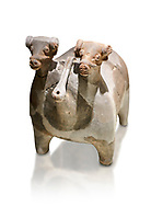 Bronze Age Anatolian terra cotta vtwo headed bull shaped ritual vessel - 19th to 17th century BC - Kültepe Kanesh - Museum of Anatolian Civilisations, Ankara, Turkey. Against a white background. .<br /> <br /> If you prefer to buy from our ALAMY PHOTO LIBRARY  Collection visit : https://www.alamy.com/portfolio/paul-williams-funkystock/kultepe-kanesh-pottery.html<br /> <br /> Visit our ANCIENT WORLD PHOTO COLLECTIONS for more photos to download or buy as wall art prints https://funkystock.photoshelter.com/gallery-collection/Ancient-World-Art-Antiquities-Historic-Sites-Pictures-Images-of/C00006u26yqSkDOM