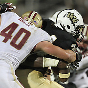 Boston College linebacker Luke Kuechly (40) tackles Central Florida wide receiver A.J. Guyton (3)  during an NCAA football game between the Boston College Eagles and the UCF Knights at Bright House Networks Stadium on Saturday, September 10, 2011 in Orlando, Florida. (AP Photo/Alex Menendez)