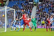 Middlesbrough FC striker Christian Stuani scores the third goal during the Sky Bet Championship match between Brighton and Hove Albion and Middlesbrough at the American Express Community Stadium, Brighton and Hove, England on 19 December 2015. Photo by Phil Duncan.