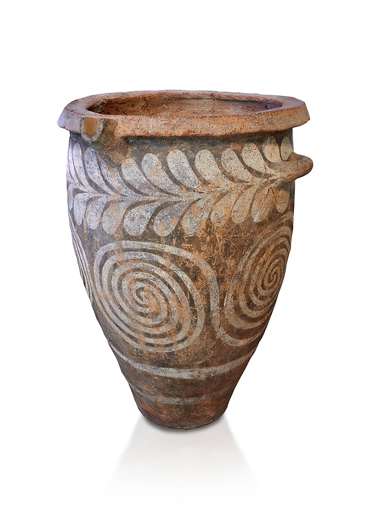 The Minoan clay burial pithos with swirl and leaf design,  Neopalatial period 1700-1450 BC; Heraklion Archaeological  Museum, white background.<br /> <br /> The body was placed in a foetal postion to aid insertion into the wide mouthed pithos .<br /> <br /> If you prefer to buy from our ALAMY PHOTO LIBRARY  Collection visit : https://www.alamy.com/portfolio/paul-williams-funkystock/minoan-art-artefacts.html . Type -   Heraklion   - into the LOWER SEARCH WITHIN GALLERY box. Refine search by adding background colour, place, museum etc<br /> <br /> Visit our MINOAN ART PHOTO COLLECTIONS for more photos to download  as wall art prints https://funkystock.photoshelter.com/gallery-collection/Ancient-Minoans-Art-Artefacts-Antiquities-Historic-Places-Pictures-Images-of/C0000ricT2SU_M9w