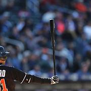 NEW YORK, NEW YORK - APRIL 13: Ichiro Suzuki, Miami Marlins, during batting during the Miami Marlins Vs New York Mets MLB regular season ball game at Citi Field on April 13, 2016 in New York City. (Photo by Tim Clayton/Corbis via Getty Images)