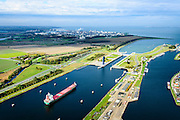 Nederland, Zeeland, Zeeuws-Vlaanderen, 19-10-2014; Terneuzen, Kanaal Gent - Terneuzen. Ingang kanaal en sluizen. In de achtergrond Dow Chemicals en de Westerschelde.<br /> Channel Gent - Terneuzen, entrance and locks.<br /> luchtfoto (toeslag op standard tarieven);<br /> aerial photo (additional fee required);<br /> copyright foto/photo Siebe Swart