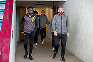 Burton Albion players walk out onto the pitch for inspection prior to kick off during the The FA Cup 1st round match between Scunthorpe United and Burton Albion at Glanford Park, Scunthorpe, England on 10 November 2018.