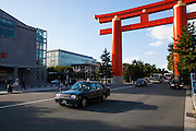 Heian Jingu Shrine. This Torii, sort of gate to access the shrine, cross over the road is one of the largest in Japan -KYOTO, JAPAN -  March 2011