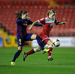 Bristol Academy Womens' Grace McCatty battle for possession FC Barcelona's Maria Victoria Losada  - Photo mandatory by-line: Joe Meredith/JMP - Mobile: 07966 386802 - 13/11/2014 - SPORT - Football - Bristol - Ashton Gate - Bristol Academy Womens FC v FC Barcelona - Women's Champions League