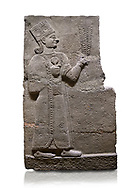 Hittite relief sculpted orthostat stone panel of Long Wall Basalt, Karkamıs, (Kargamıs), Carchemish (Karkemish), 900-700 B.C. Anatolian Civilisations Museum, Ankara, Turkey<br /> <br /> Goddess Kubaba. Goddess is depicted from the profile. She holds a pomegranate in her hands on her chest. She carries a one-horned headdress on her head. Her braided hair hangs down to her shoulder . <br /> <br /> On a White Background. .<br />  <br /> If you prefer to buy from our ALAMY STOCK LIBRARY page at https://www.alamy.com/portfolio/paul-williams-funkystock/hittite-art-antiquities.html  - Type  Karkamıs in LOWER SEARCH WITHIN GALLERY box. Refine search by adding background colour, place, museum etc.<br /> <br /> Visit our HITTITE PHOTO COLLECTIONS for more photos to download or buy as wall art prints https://funkystock.photoshelter.com/gallery-collection/The-Hittites-Art-Artefacts-Antiquities-Historic-Sites-Pictures-Images-of/C0000NUBSMhSc3Oo