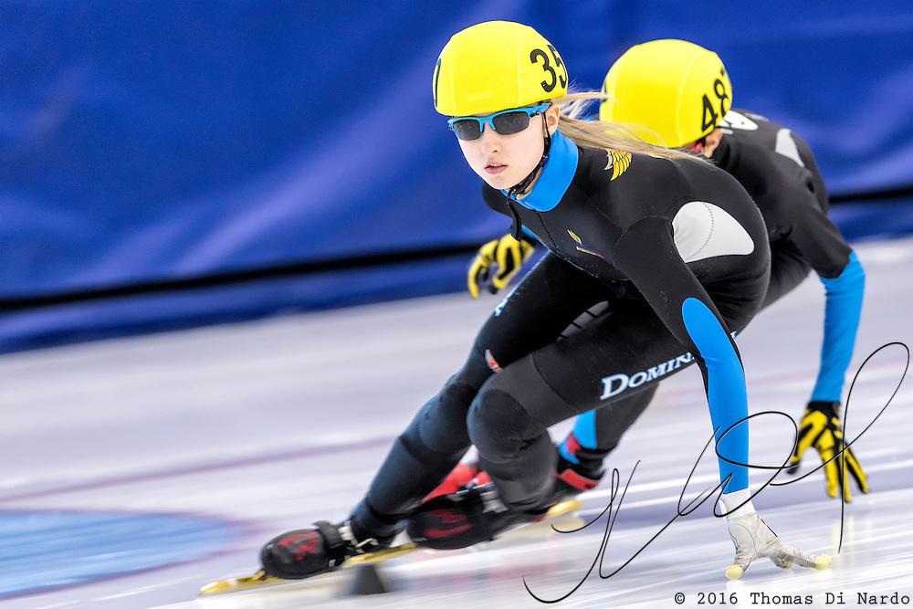 December 17, 2016 - Kearns, UT - Kamryn Lute skates during US Speedskating Short Track Junior Nationals and Winter Challenge Short Track Speed Skating competition at the Utah Olympic Oval.