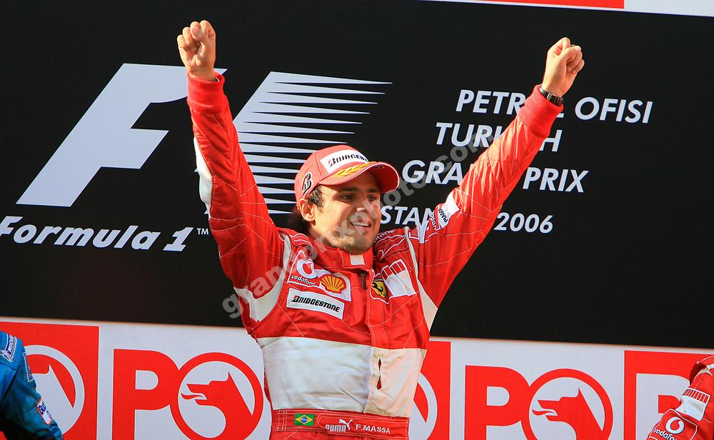 Ferrari driver Felipe Massa on the podium after the 2006 Turkish Grand Prix in Istanbul Park. Photo: Grand Prix Photo