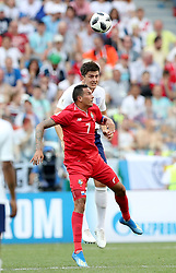 NIZHNY NOVGOROD, June 24, 2018  Blas Perez (bottom) of Panama competes for a header during the 2018 FIFA World Cup Group G match between England and Panama in Nizhny Novgorod, Russia, June 24, 2018. England won 6-1. (Credit Image: © Xu Zijian/Xinhua via ZUMA Wire)